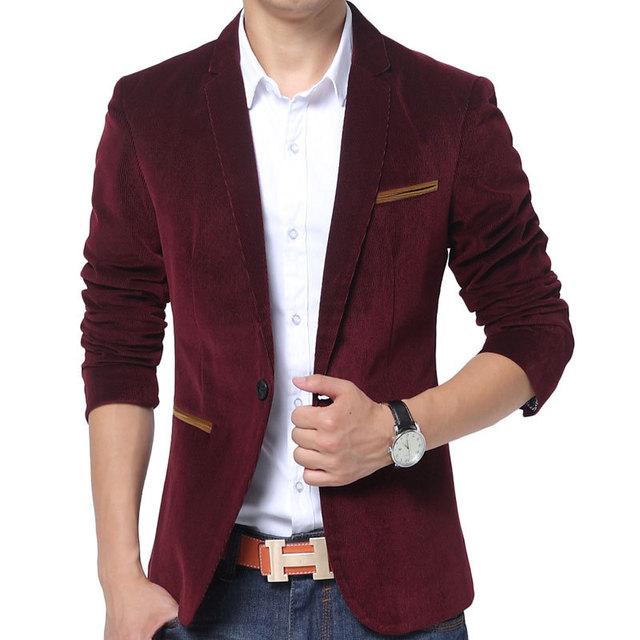 Nueva Red Blazer Hombres Otoño Invierno 2015 de Moda Para Hombre Delgado Fit Chaqueta de la chaqueta Ocasional Marca Solo Botón Chaqueta de Traje de Novia 3Xl