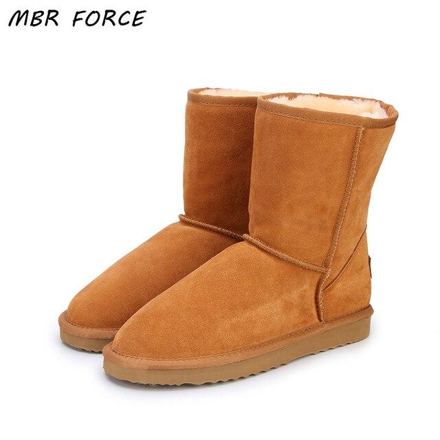 MBR FORCE Classic ของแท้ Cowhide หนังหิมะรองเท้า 100% ขนสัตว์ผู้หญิงรองเท้าอุ่นฤดูหนาวรองเท้าผู้หญิงขนาดใหญ่ 34-44
