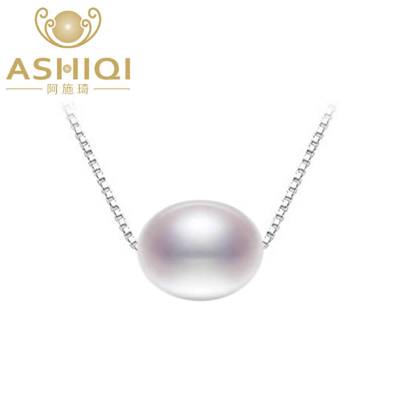 ASHIQI 925 sterling silver necklaces freshwater pearl pendant 7.5-8mm natural pearls jewelry for women gift