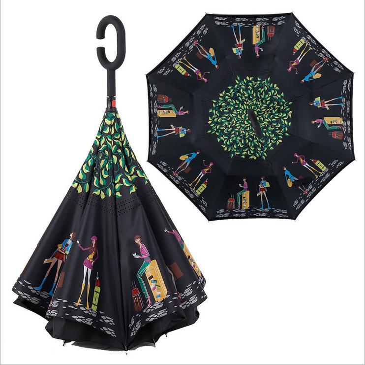 11 krāsu jauna stila divslāņu apgriezts lietussargs, kas atvērts - Mājsaimniecības preces