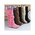 Новый Рыцарь сапоги женская обувь сапоги мода Нубука длинные сапоги для женщин Колено Круглым Носком ботинки женщин большого размера 34-43
