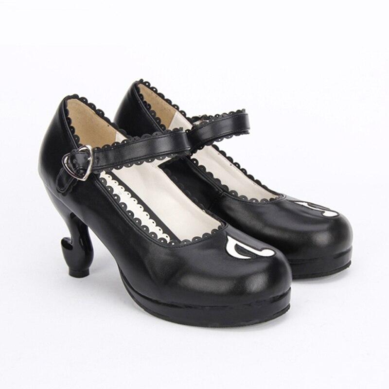 Fille Princesse Mary Note Musicale Fantasy Hauts Talons custom Chaussures Jane Personnalité Lolita Pompes Noir q8zwCvv
