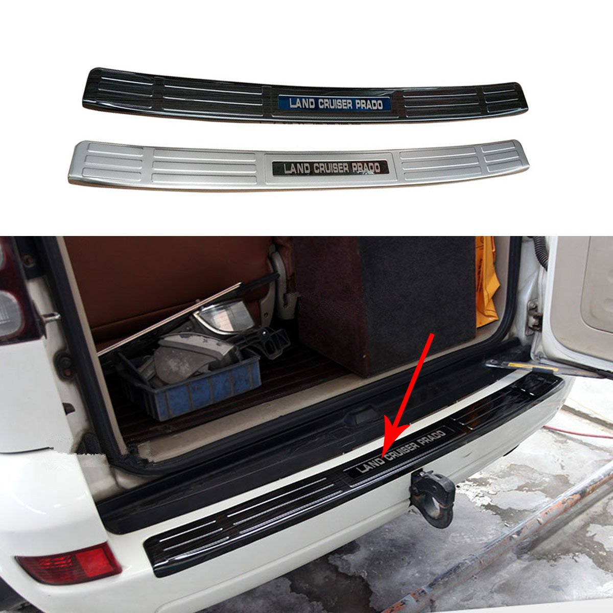 Stainless Steel Internal and External Rear Guard for <font><b>Toyota</b></font> <font><b>Land</b></font> <font><b>Cruiser</b></font> <font><b>Prado</b></font> <font><b>120</b></font> <font><b>2003</b></font> 2004 2005 2006 2007 2008 <font><b>2009</b></font> image