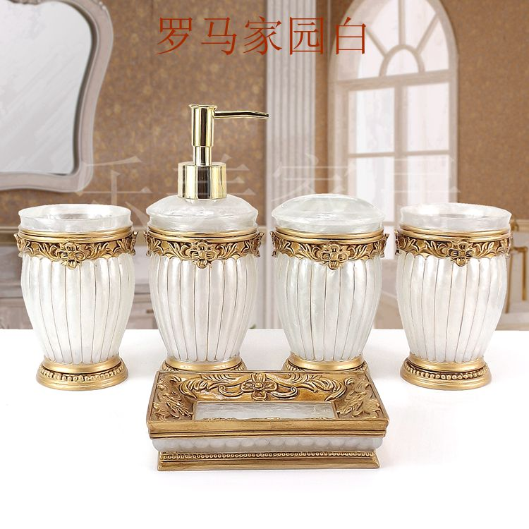 Resin bathroom five pieces set fashion bathroom supplies wash dental set Soap dish Toothbrush holder Beautiful
