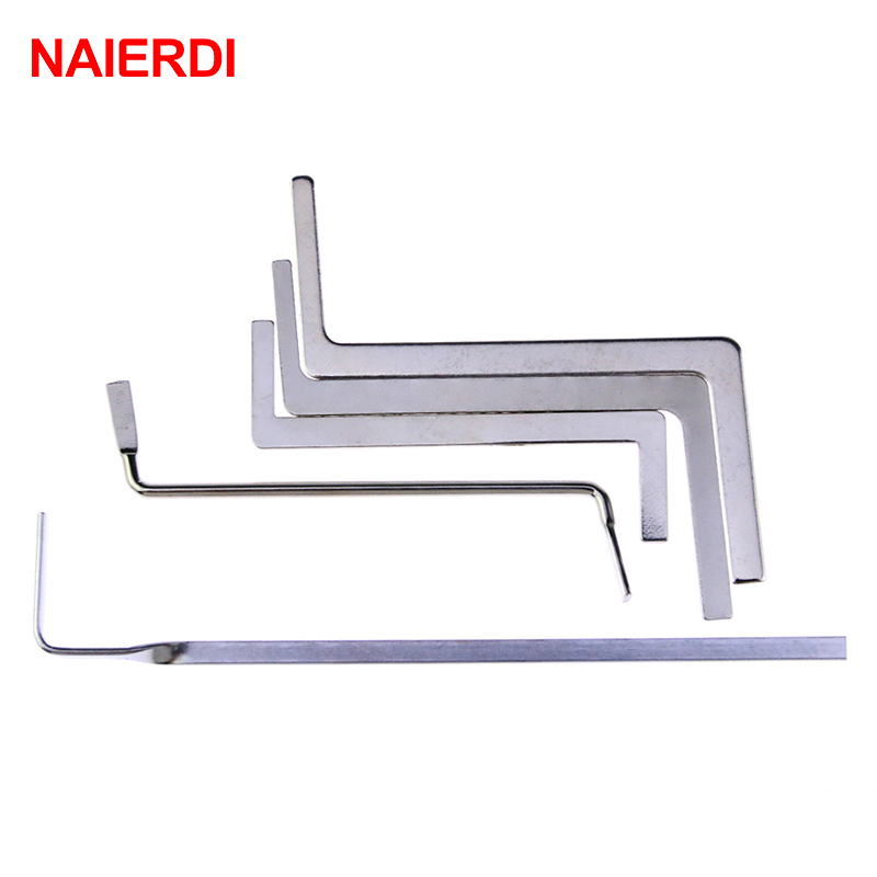 5PCS NAIERDI Locksmith Tools Stainless Steel Double Row Tension Wrench Tool Removal Hooks Lock Extractor Set Furniture Hardware stainless steel 072087 locksmith dual head car lock transmission tool set silver 4 pcs