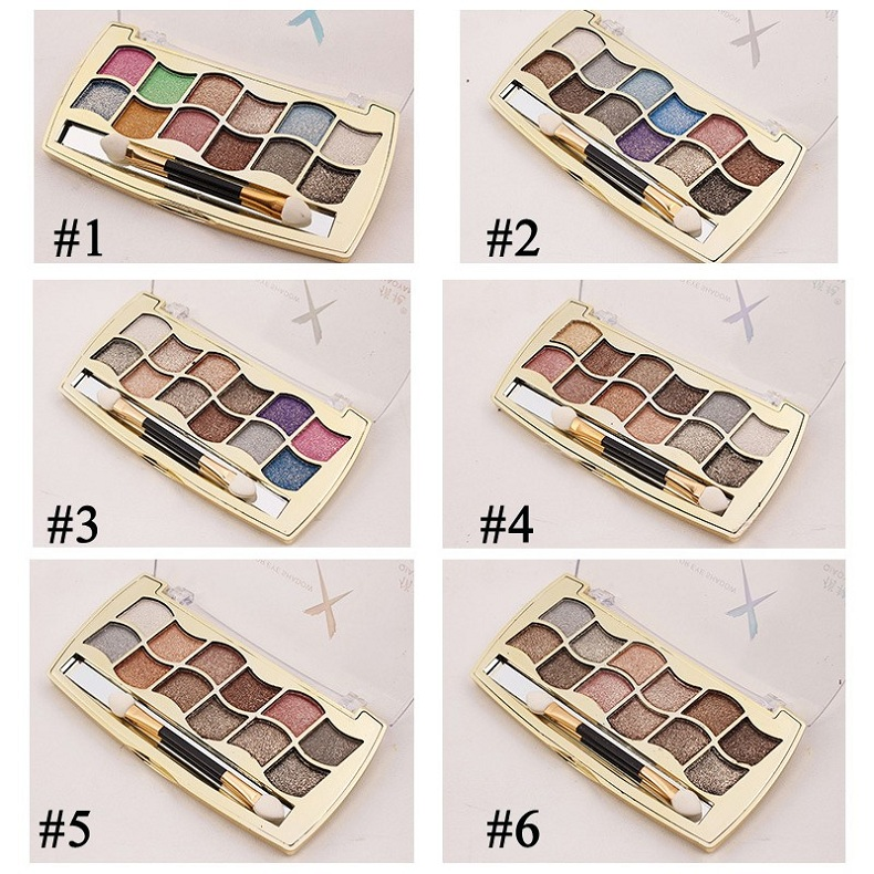 Professional Eye Makeup 12 Colors Eyeshadow Palette Gold Smoky Cosmetics Diamond Bright Glitter EyeShadow