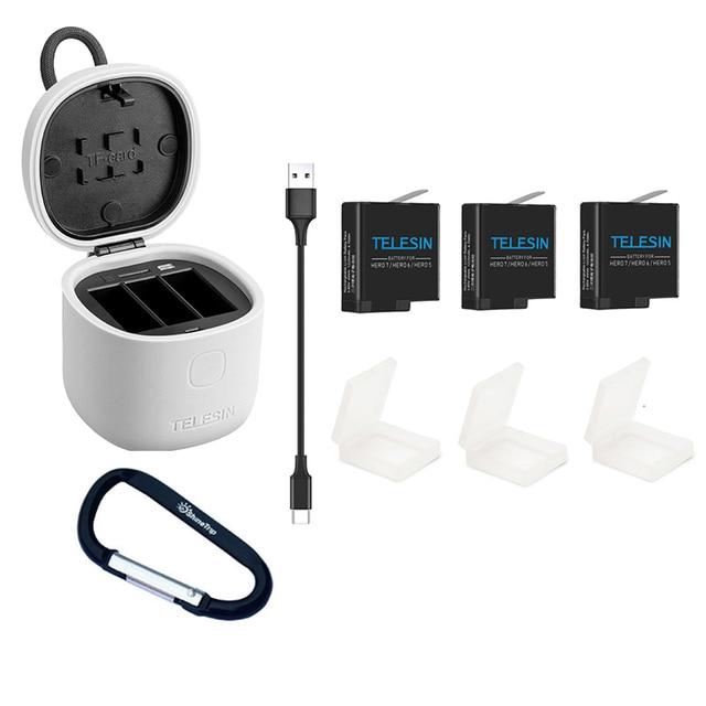 TELESIN アリンボックス 3 スロットバッテリ充電器充電収納ボックス TF カードリーダー用の Gopro hero 5/6/7 2018 黒アクセサリー