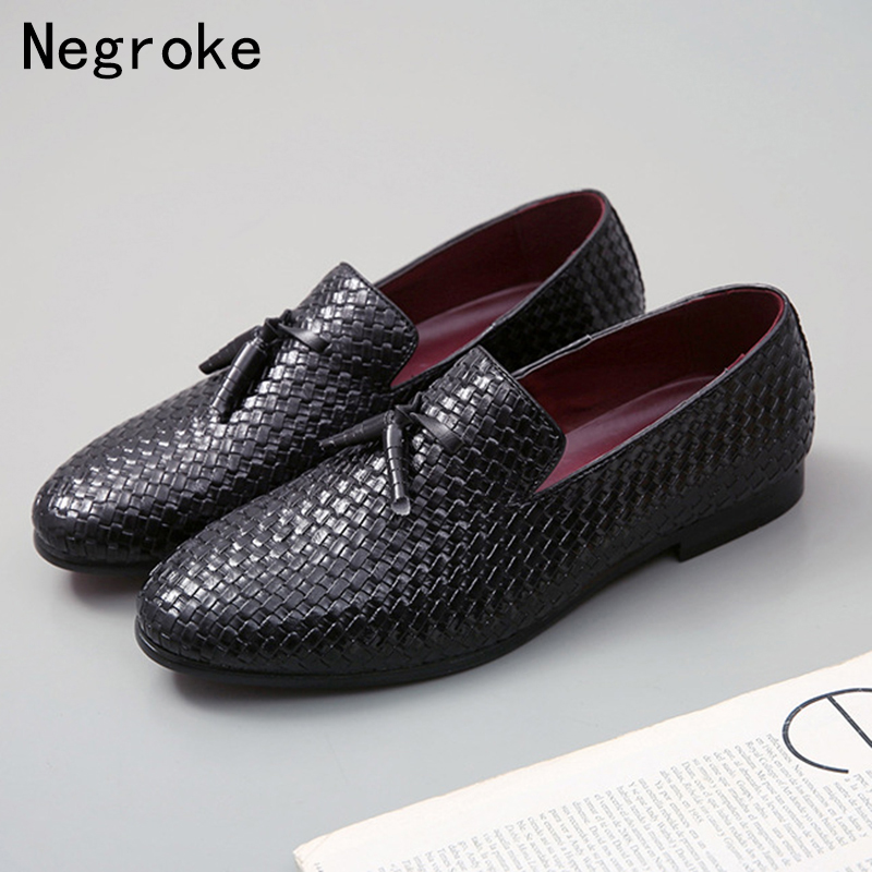 Modest Plus Size Men Shoes 2019 New Italian Tassel Business Formal Weaving Leather Loafers Designer Flats Dress Shoes For Men Formal Shoes Men's Shoes