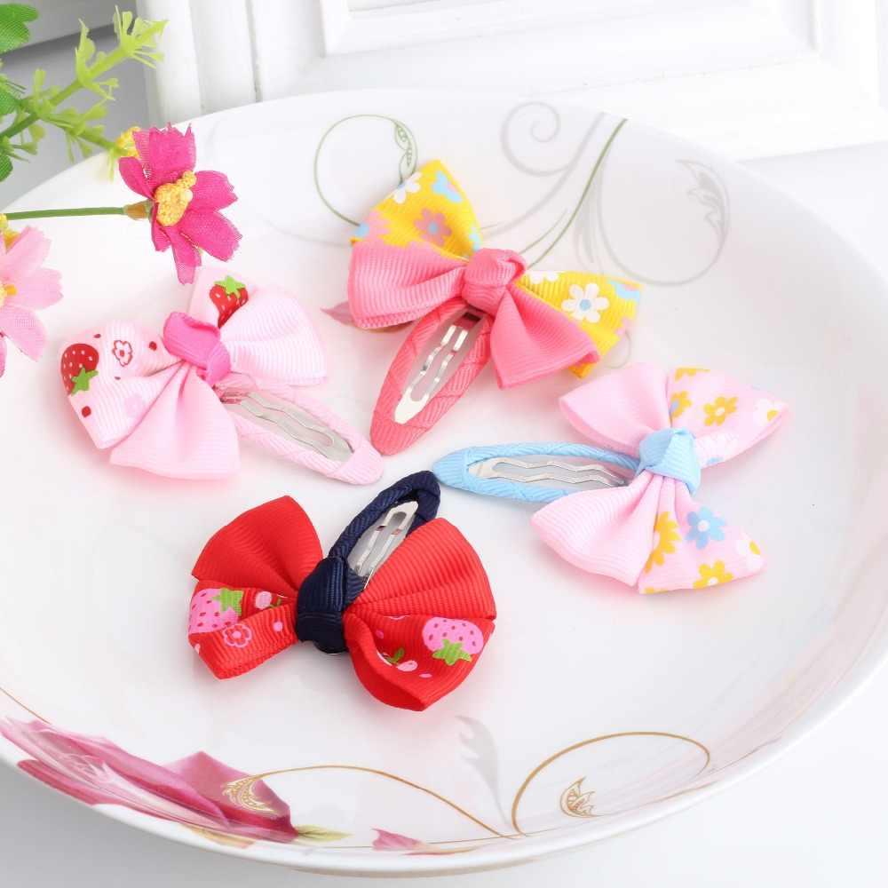 新発売 1 ロット = 2 個ちょう 17 色ヘアクリップ夏スタイル子供ヘアアクセサリーリボン印刷弓のヘアクリップ