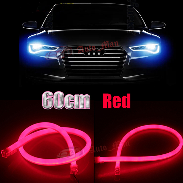 2pcs universal 60cm red daytime running lights flexible tube style 2pcs universal 60cm red daytime running lights flexible tube style led strips for car motorcycle headlight mozeypictures Gallery