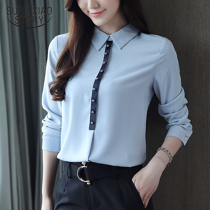 2019 Fall Chiffon Women Shirts Beads Women's Long Sleeve Office Lady Womens Tops And Blouses OL Blue Women Blouses Blusa 1557 45