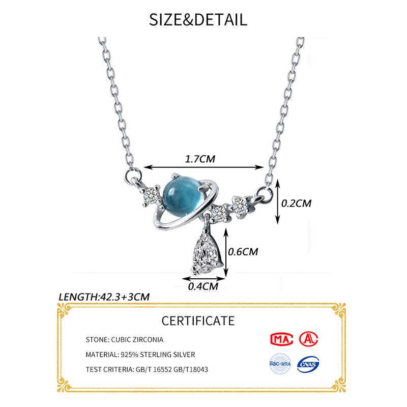Inzatt Nyata 925 Sterling Perak Bulat Biru Kristal Liontin Kalung untuk Wanita Perhiasan Aksesoris Lucu Hadiah 2019