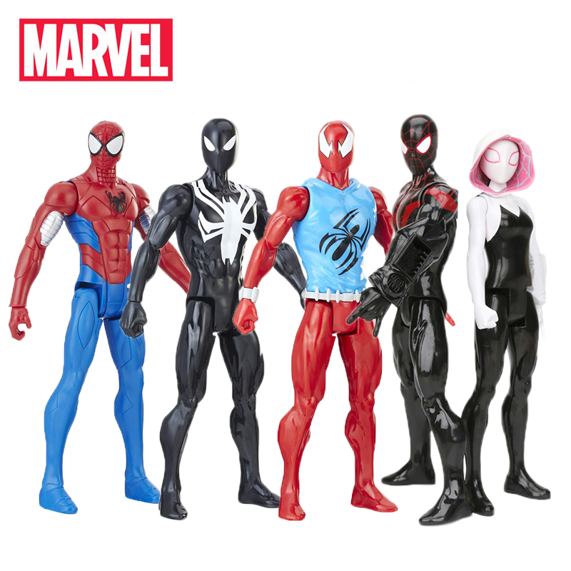 30cm Marvel Black Suit Spiderman Figure Toys Avengers Titan Hero Power FX Miles Morale Spider-man Armored Spider-gwen Model Toy(China)
