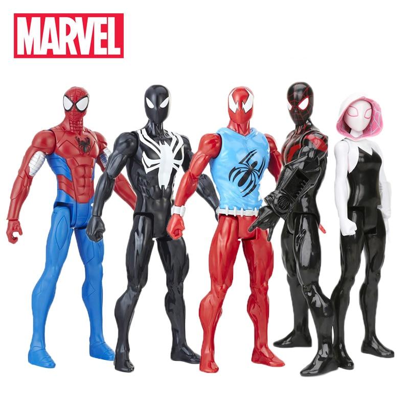 30cm Marvel Black Suit Spiderman Figure Toys Avengers Titan Hero Power FX Miles Morale Spider-man Armored Spider-gwen Model Toy
