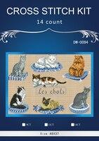 . YIBO katzenfischen Gezählt Kreuzstich 14CT Kreuzstich Sets Großhandel cartoon kreuzstich Kits Stickerei Hand
