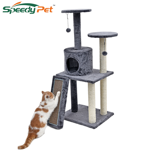 Fast Delivery Luxury Cat Tree House Pet Scratch Board Scratching Toy Ball Sisal Post Kittentower