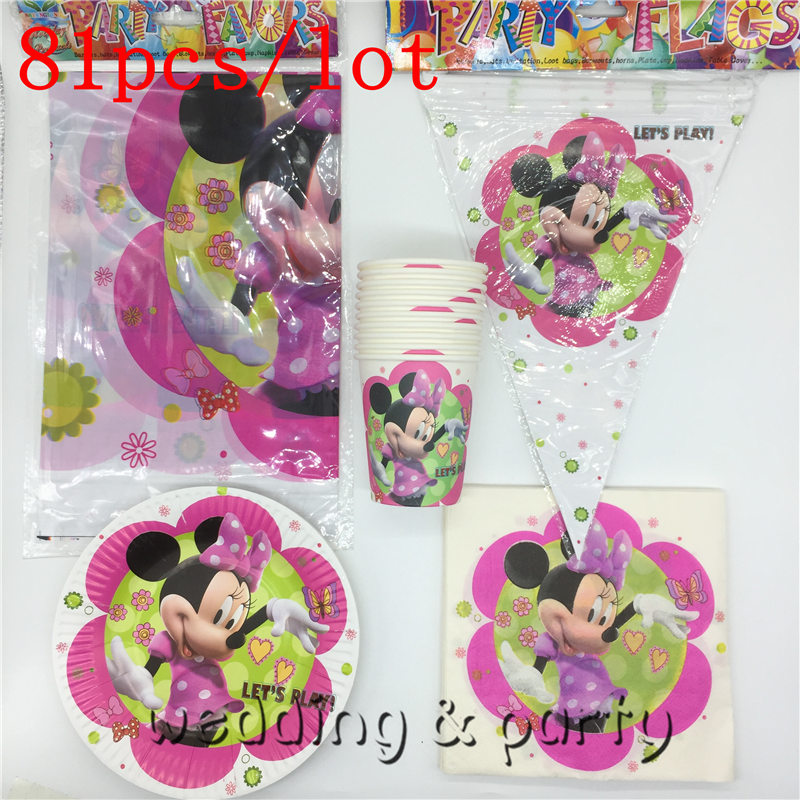 81pcs/lot Minnie mouse Baby Shower tablecloth trolls Birthday Party Kids Favors cups plates Decoration banner napkins Supplies