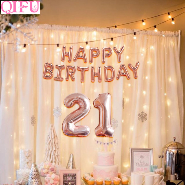 QIFU 32 Inch 21 Happy Birthday Balloons Rose Gold 21st Party Decorations Forever Years