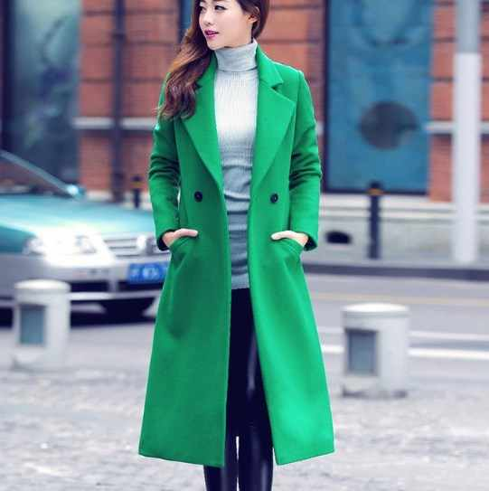 Womens Autumn Spring Long Trenchcoats Ladies Slim Fit Trench Coat Mujer Women BLAZER Collar Double Breasted Coat Black Red Green