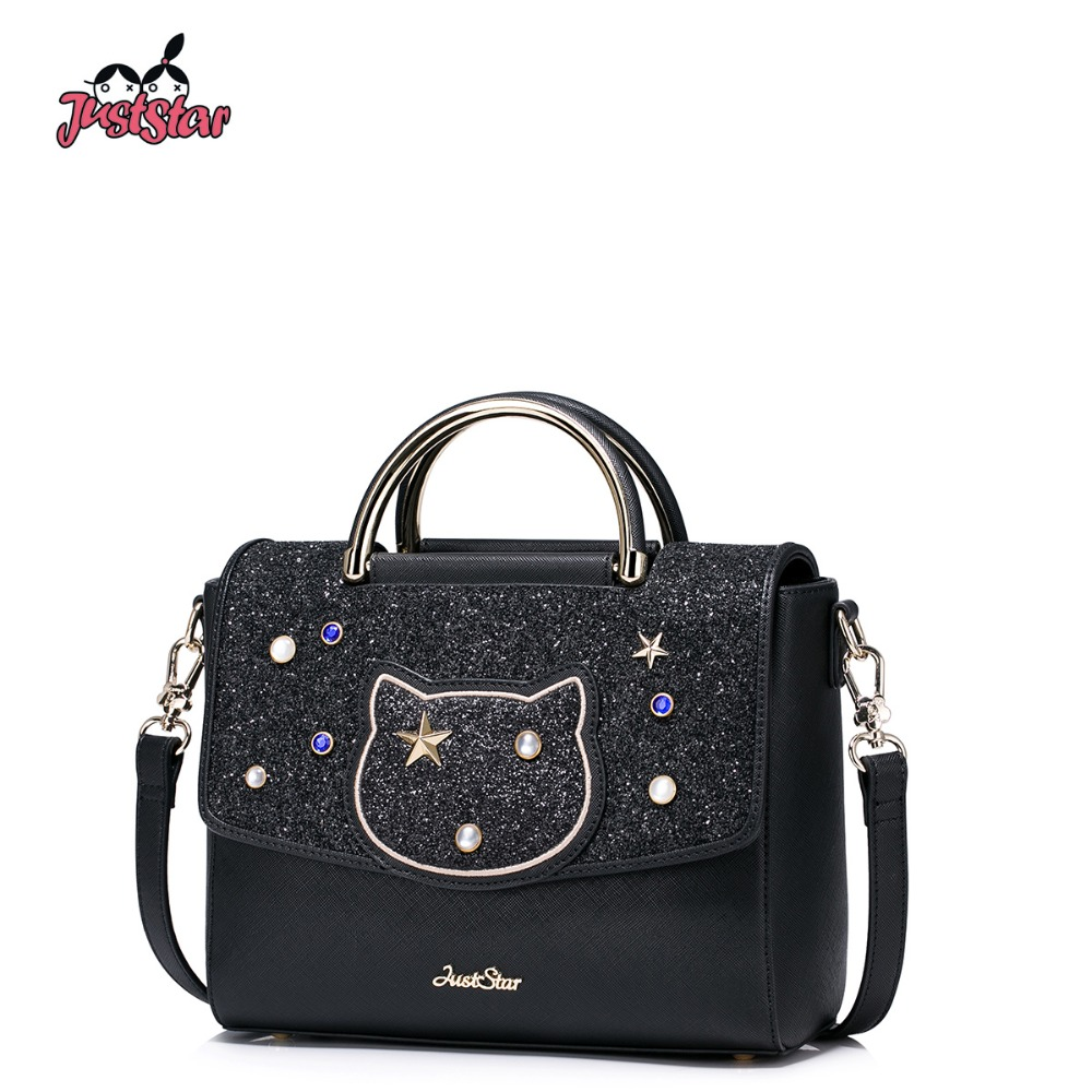 JUST STAR Women's PU Leather Handbags Ladies Fashion Rivet Tote Bags Female Cat Cute Messenger Bags Brand High Quality JZ4227 1 4 inch screwdriver head angle driver magnetic bit angle driver screwdriver bits 105 degree adjustable angle bit driver adapter