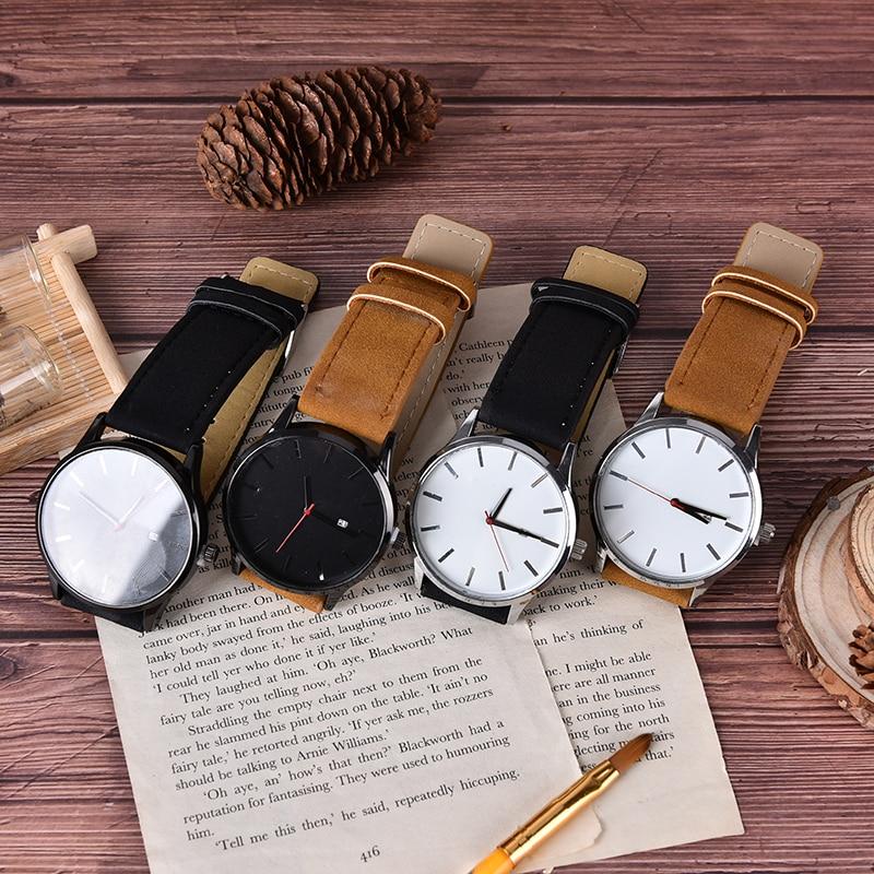 Leather Band Analog Round Quartz Wrist Business Men's Watch Creative Luxury Couple Fashion Men Watches