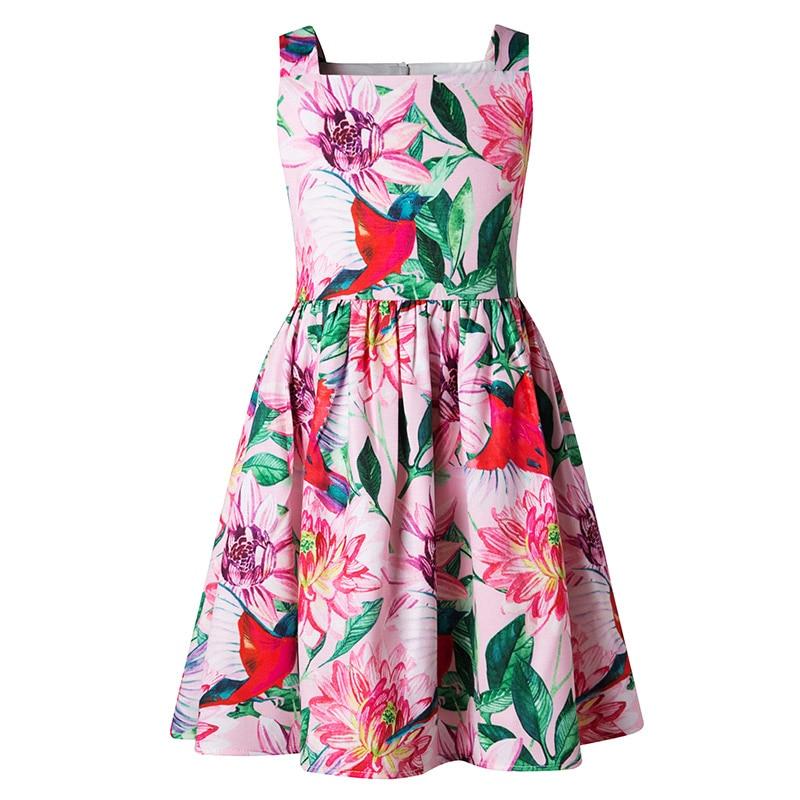 Keelorn Children Dresses 2017 New Summer Fashion Style Girls Lotus Flower Pattern Princess Dress For Kids Cute Brand 4-14Y Dress