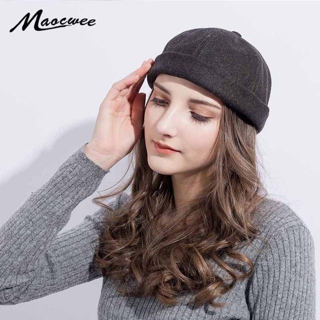 b71a4e43852 New Wool Beanie Men Women Hats Skullcap Solid Beanies Hat Portable Spring  Autumn Unisex Casual Sailor