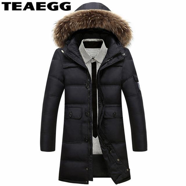 d74074c5c2b TEAEGG Plus Size 4XL Men s Winter Parks Casual Hooded Faux Fur Collar Black  Men Down Jacket Men Winter Warm Thick Jackets AL104