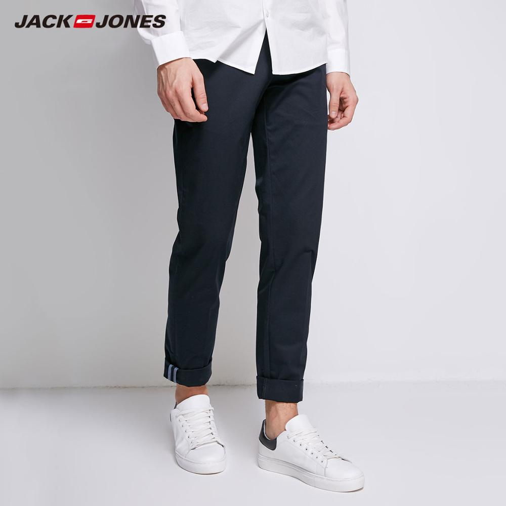 JackJones Men's Cotton Pants Elastic Fabric Comfort Breathable Business Smart Casual Pants Slim Fit Trousers Menswear|218314502