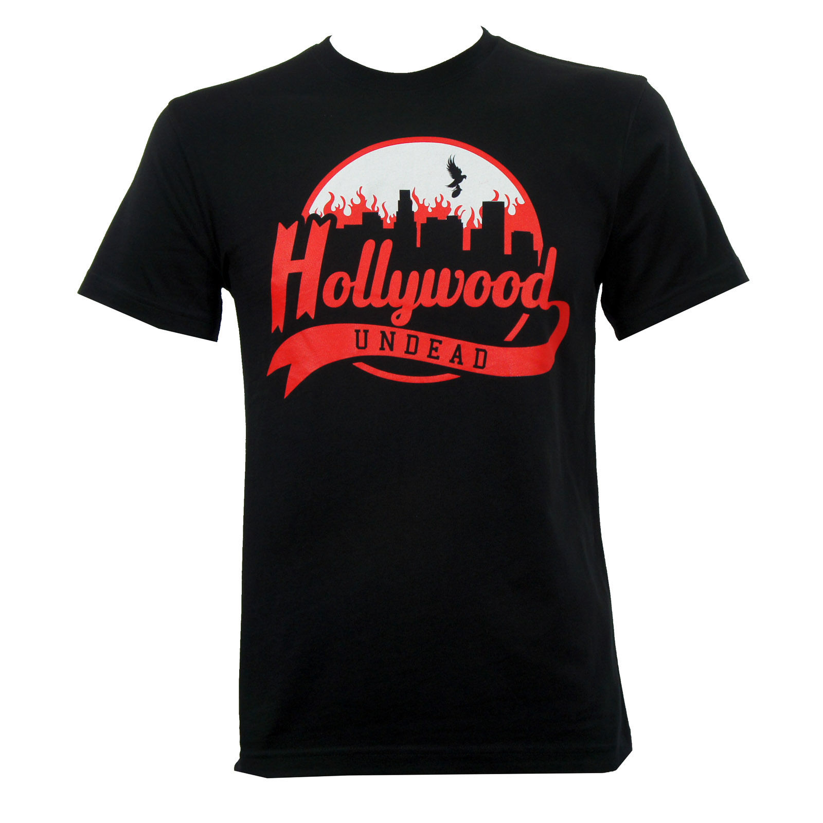 LEQEMAO Tee Shirts Hipster O-neck Authentic Hollywood Undead Band Burning City Logo Slim-fit T-shirt S-2xl New