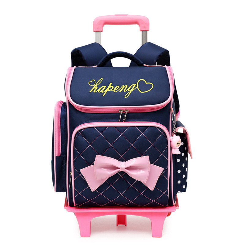 Kids girls Trolley Schoolbag Luggage Book Bag Backpack Latest Removable Children School Bags With 2 6