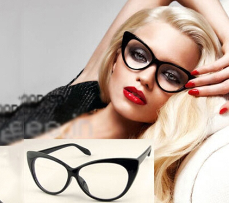 Brand New Modern Elegant Cat Eyes Shape Glasses Frame For Ladies Acetate Optical Frames Retro Plastic Plain Glasses 5 Colors