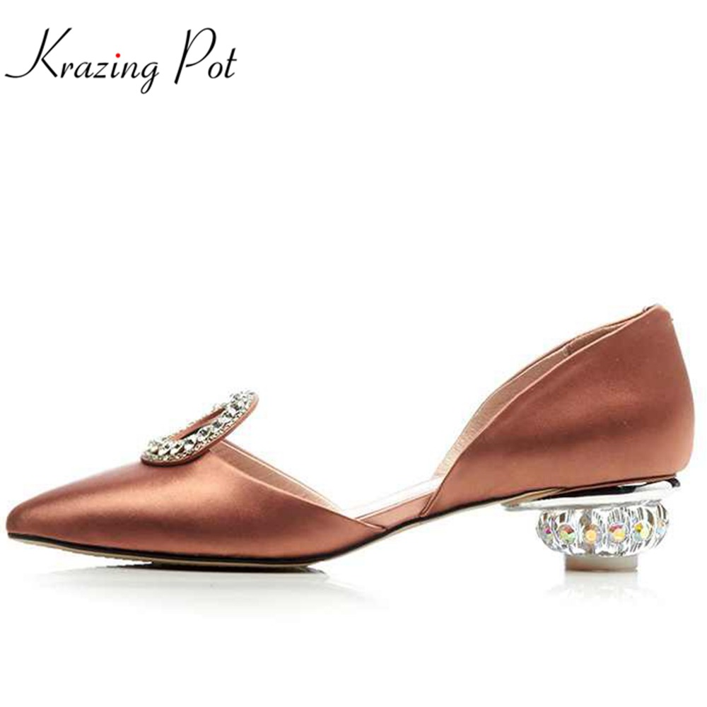 krazing Pot 2018 silk mature elegant solid summer fashion crystal slip on pointed toe med heels shallow concise women pumps L28