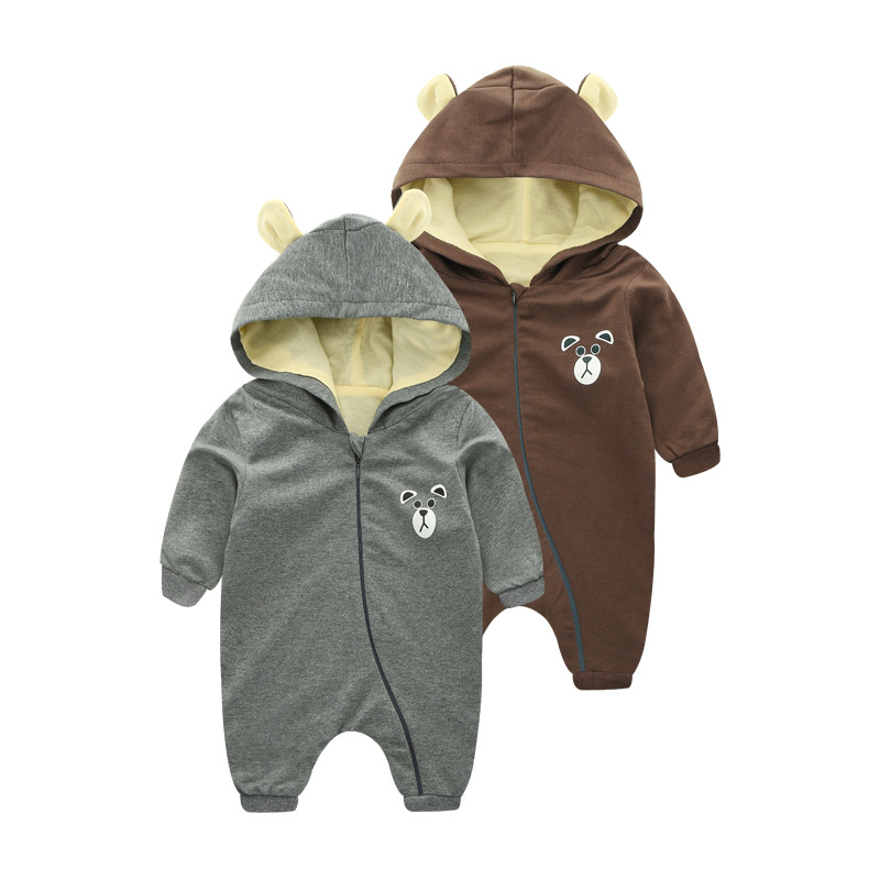 2017 Spring Baby Rompers Cute Bear Hooded Baby Boys Girls One-piece Suits Clothing Sets Baby Autumn Roupas Infant Jumpsuits X1 0 9months autumn winter baby girls boys rompers cartoon cute thick warm hooded jumpsuits newborn clothes infant clothing bc1225