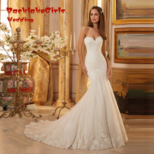 Newest Design Memaid Stylish Appliques Tulle Sweetheart Off The Shoulder Chapel Train 2017 Wedding Dresses Custom Made