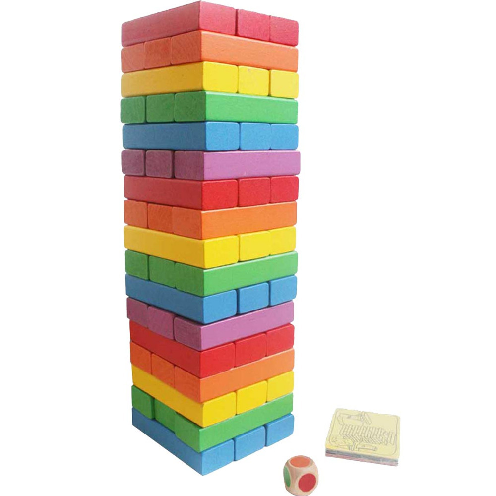 new wooden baby toys learning educational building blcok stack tower games drinking colorful rainbow jenga pair of rivet faux gem geometric earrings