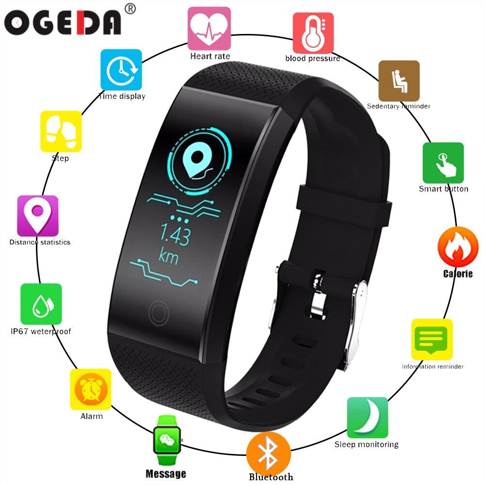 OGEDA QW18 reloj inteligente deportes pulsera corazón de Color de podómetro IP68 impermeable reloj superior de la marca de lujo de Fitness reloj de pulsera
