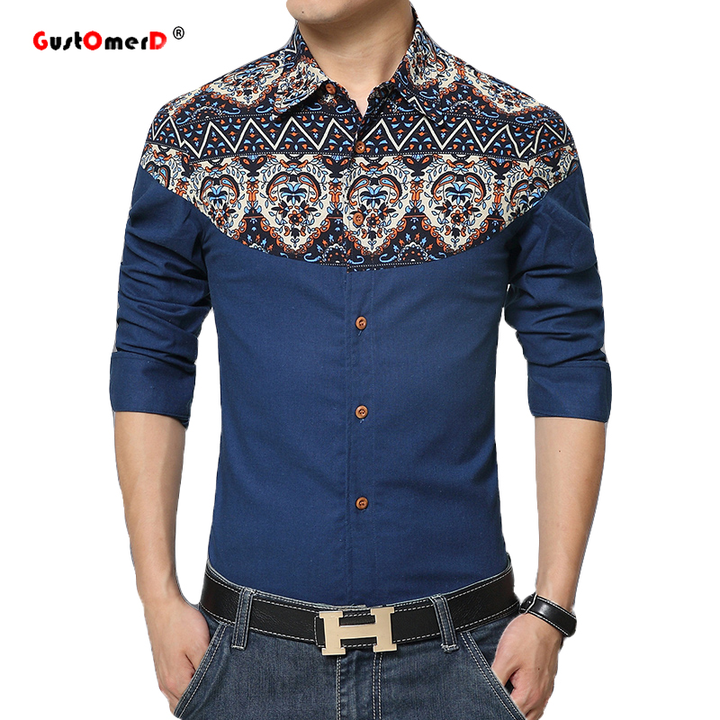2016 New Men Cotton Shirts Business Patchwork Dress Shirt