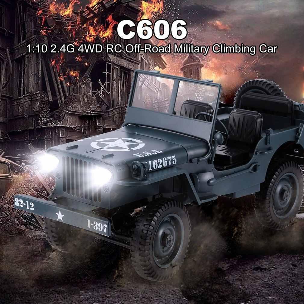 C606 1:10 RC Mobil 2.4G 4WD Rental Remote Kontrol Lampu Jeep Off-Road 4WD Militer mendaki Mobil Mainan Anak Hadiah