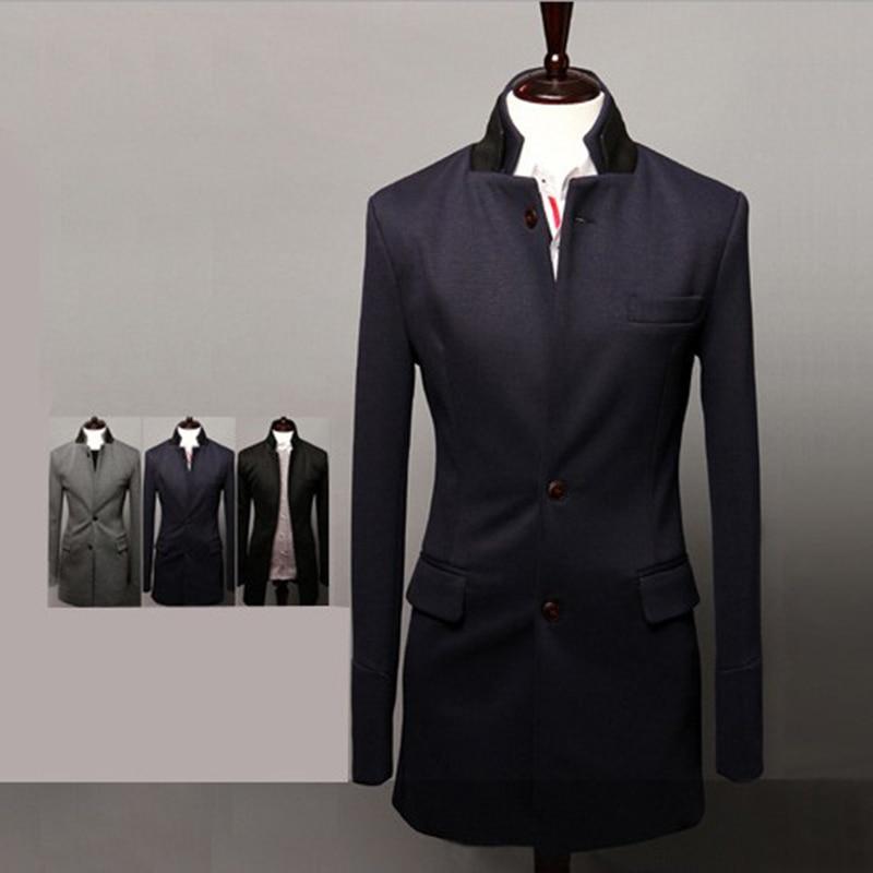 Sección Para Fit Slim Negro Solo Blue Invierno grey Larga dark Los Abrigo De Otoño Sólido Chaqueta Hombres Lana Y Moda Hombre Pecho Media SxXvZqwzn