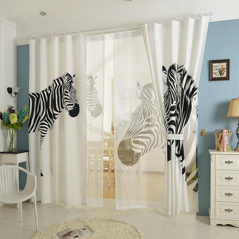 White And Black Zebra Cotton Linen 3d Window Curtains