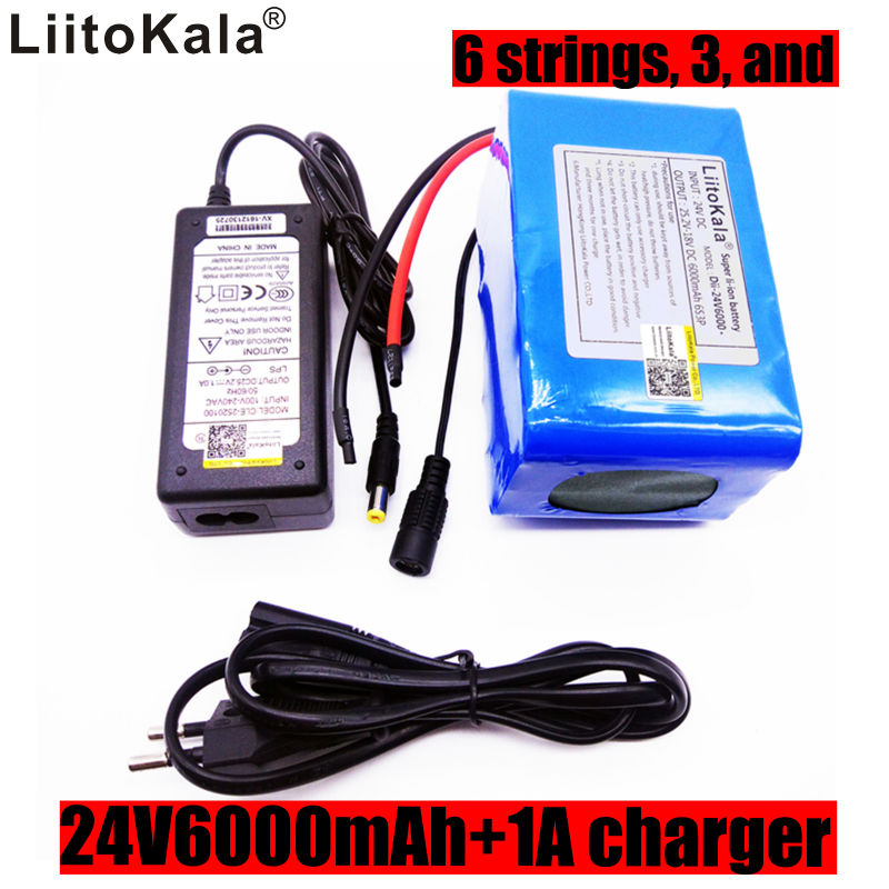 Liitokala 24v6ah lithium battery 6s3p 25.2v6000mah Li-ion battery built-in protection board 25.2V1A charger 30a 3s polymer lithium battery cell charger protection board pcb 18650 li ion lithium battery charging module 12 8 16v
