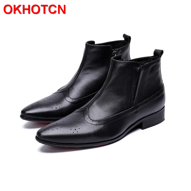 New Spring Autumn Men Ankle Boots Breathable Pointed Toe Mens Boots Black Solid Mens Leather Motorcycle Boots Zip Botas Hombre