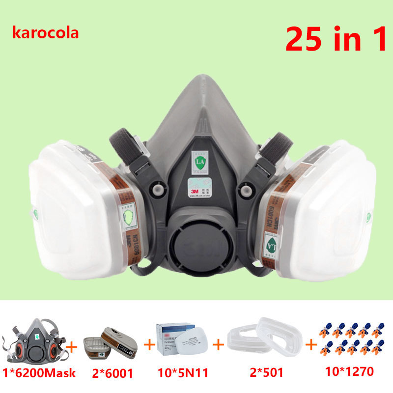 25 in 1 Hafl face mask 6200 Gas mask Painting Spraying For Respirator chemical dust mask with 6001 filter 9 in 1 suit gas mask half face respirator painting spraying for 3 m 7502 n95 6001cn dust gas mask respirator