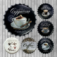 ZJY Espresso Coffee Metal Tin Beer Bottle Cap Decorative Plate Plaque Vintage Pub Wall Art Metal Sign Vintage Home Decor 40CM