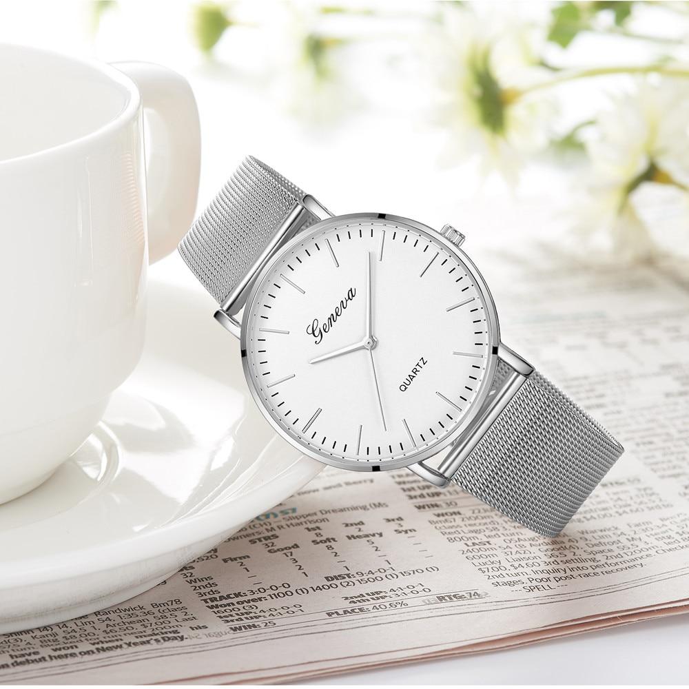 Fashion Casual watches Womens Men GENEVA Womens Classic Quartz Stainless Steel Wrist Watch Bracelet Watches 1