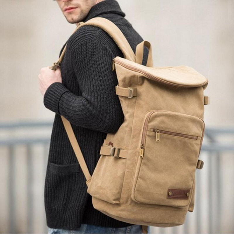 XINCADA Mens Wearproof Canvas Backpacks Large Capacity Leather Logo Travel  Daypacks 15 Laptop Rucksacks Fashion School ca4b0d418fcc3