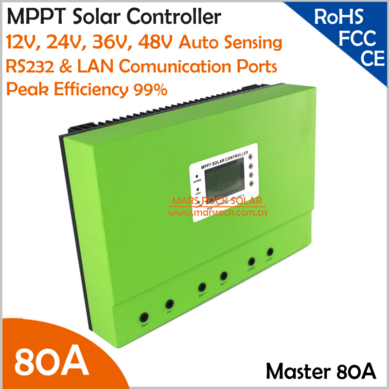 99% Max. Efficiency 80A MPPT Solar Controller with High Intelligent Auto Sensing DC12V 24V 36V 48V System and RS232 LAN Ports free shipping 1820w 80a 24v 36v