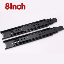 High Quality 32Pairs/lot 8inch 3 Fold Telescopic Drawer Runners Groove Ball Bearing Slide Rails Smoothly & Mute E178