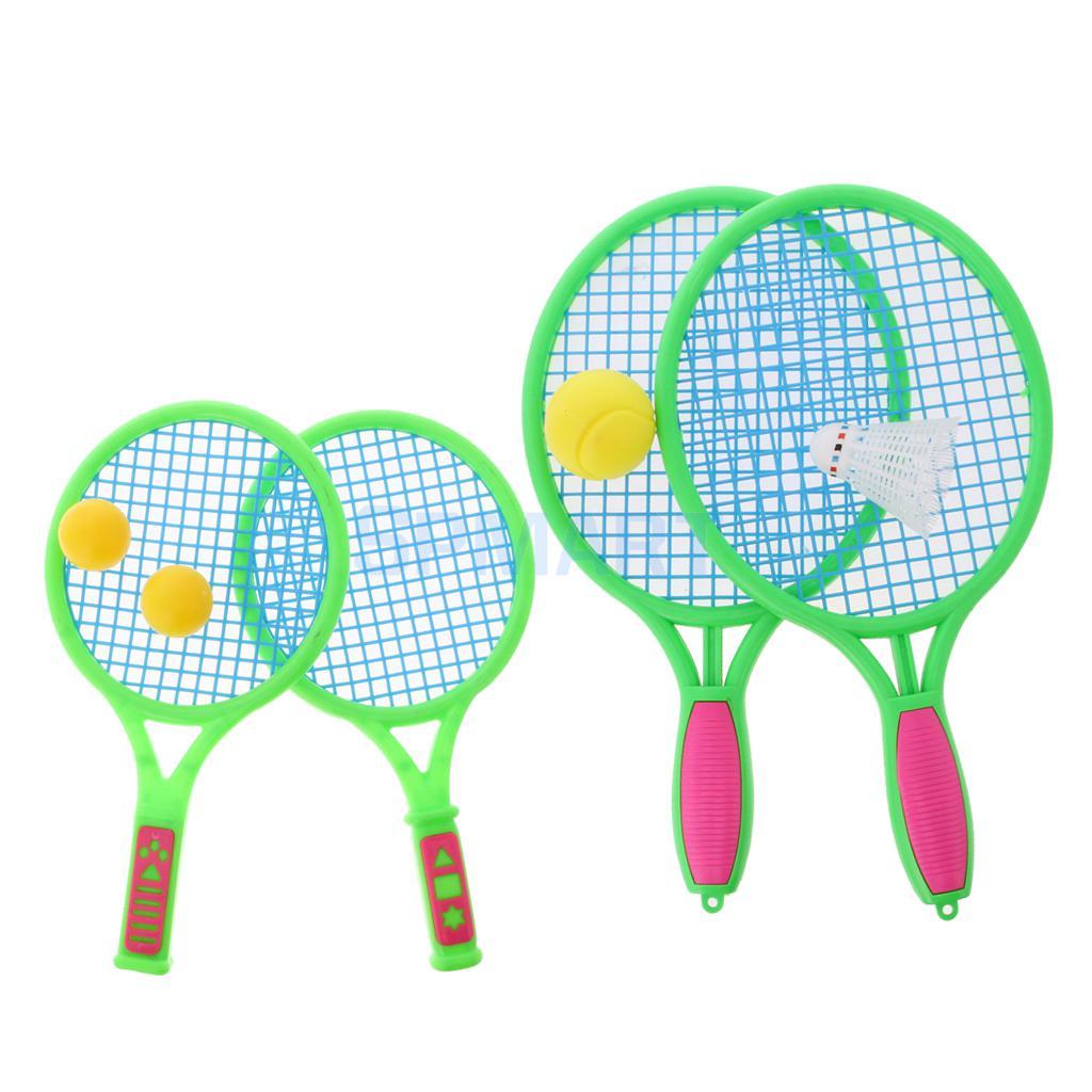Kids Plastic Dual Tennis Rackets Racquets Balls Badminton Set Children Indoor Outdoor Sports Game Toys Birthday Chrismas Gifts
